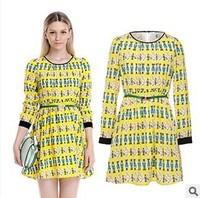 Woman autumn winter 2014 belt's prints Lapel long sleeve splicing dress casual formal teenage girls fashion dresses