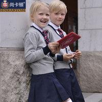 Fashion cotton cardigan 100% kindergarten park service class service elementary student school uniform t204