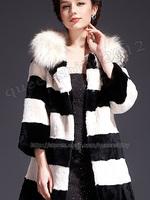 2014 New 100% Real Genuine Rex Rabbit Fur Long Coat Jacket With Huge Raccoon Collar Women Clothing Fashion Winter Warm
