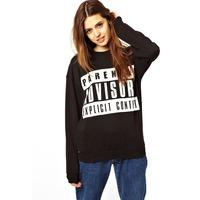 Autumn 2014 Long Sleeve Screw Neck Parental Advisory Explicit Content Lapel Letter Fleece Sweatshirt Pullover for Women