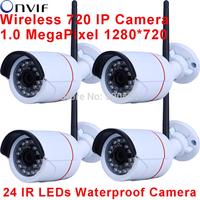 4pcsOnvif H.264 1.0 Megapixel 720P Network Wireless Wifi IP Camera  24 IR Outdoor Waterproof Bullet Camera
