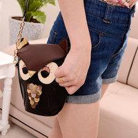 Owl Satchel Messenger Women BLACK Shoulder Bag Cute Girls Handbag Cross Body Purse BAG019