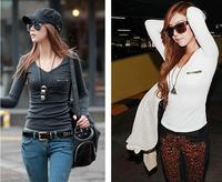 2014 Fashion Women Autumn T-shirt Plus Size Femininas Long Sleeves Blusas Punk Sexy Tops Tee Ladies Zipper Pocket Underwear