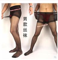 2014 Men in black color thin transparent even pants socks core-spun yarn silk stockings JJ set of gears of socks