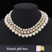 Beautiful Bride Jewelry Pendant White Pearl Beads 18K Gold Plated 18KGP Stamp Choker Necklace Pendant Gift For Women MGC N293