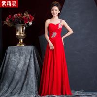 A new single shoulder sleeveless diamond silk chiffon skirt Qi wedding dress wedding party LF447