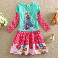 Fashion Girls Frozen dress clothes Queen Elsa Anna dress Girls Children Kids cartoon princess dress free shipping BC062