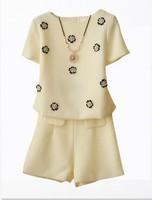 free shipping ! female cotton blends short sets ladies' handmade nails flower elegant sets Women's casual sets