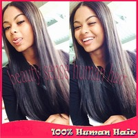 Perfect hair quality Virgin Unprocessed natural color silky straight Full lace silk top human hair wigs & lace front wigs