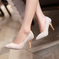 Wedding nubuck leather pointed toe bling pump high heeled sexy women slip on fashion shoes free shipping