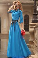 FreeShipping New 2014 Spring&Summer Brand Sexy Solid Color V- Neck Women Summer Dress Floor-Length Halter Dress Plus Size