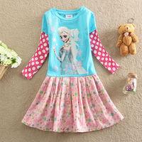 Free Shipping New 2014 baby Girls dresses princess Elsa Frozen Dress long sleeve Fashion vestidos de menina kids dress BC063