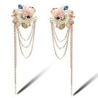 Fashion Boucle D'oreille Long Bohemian Pink Rose Brinco Tassel Earrings Pearl Jewelry Free Shipping