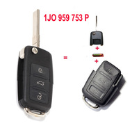 1J0 959 753 P 1J0959753P Folding Flip Key Keyless Entry Remote Transmitter For VW VOLKSWAGEN SEAT 3 Button 433MHZ With ID48 Chip