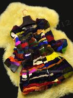 New 100% Real Genuine Rex Rabbit Fur Long Coat Jacket Colorful Unique Women Clothing Vintage Winter Warm Fashion