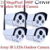 4pcs Onvif H.264 2.0 Megapixel 1920x1080 1080P HD WIFI IP Network Wireless Outdoor Array IR CCTV Camera