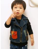 Children's clothes fall 2014 cowboy sleeveless vest coat lapels