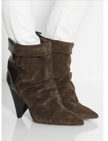 Isabel marant Women's genuine leather Suede ankle boots high heels autumn boots wedge