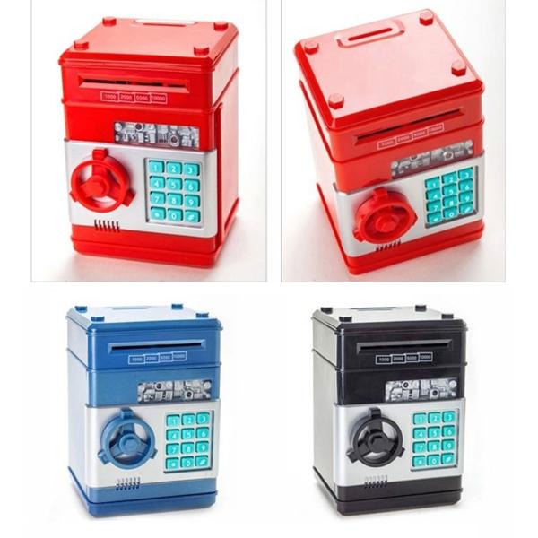 2014 Coin piggy bank lockbox Mini plastics safe red / blue / black money box password saving box child christmas gift(China (Mainland))