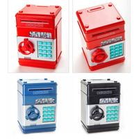 2014 Coin piggy bank lockbox Mini plastics safe red / blue / black money box password saving box child christmas gift