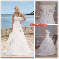 sequins organza real picture sample open back bride gown sleeveless vestido de noiva longo real Wedding Dress 2014 NK-893