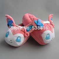 One PAIRS Pokemon Sylveon Slippers Figure Cartoon Plush Slipper 11'' Pikachu Slipper Plush Indoor Shoes Toy