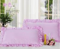 Free Shipping!! New Arrival Excellent 100% Cotton Pink Color Zipper Style  Pillow Case , 48cm*74cm Size, 2 pcs / lot