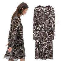 14 new spring autumn winter stripe geometry retro printing and loose long sleeved Chiffon dresses vintage teenage girls dresses