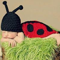New 2014  ladybird Baby boys girls  Infant Newborn  Knit Costume Photography Prop Crochet Beanie Hat Cap
