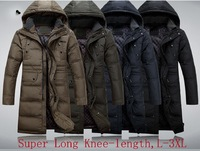 2014 Brand Men Super Long Down Jacket Winter Coat High Quality 90% White Duck Down Warm Knee-length Hooded
