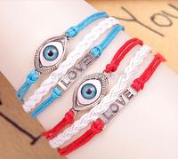 2014 New arrive  50 pcs/lot  so beautiful women retro vintage handmade  love eye  bracelets