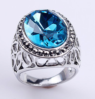 2014 Retro Anel Big Blue Crystal Platinum Plated Christmas Dinner rings,top quality ,100% hand made fashion jewelry WNR075