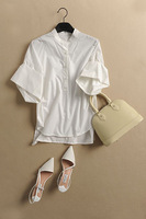 2014 solid color small buckle front fly loose cuff all-match shirt