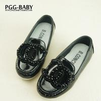 2014 Autumn children leather rhinestone shoes girls princess single shoes girls slip-on flats,fashion sneakers