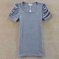 2014 women's Han edition pure color lady hubble-bubble sleeve cultivate one's morality short sleeve T-shirt SZB-D535