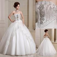 QYJY015 Strapless Ball Gown vestido de noiva com renda Crystal lace wedding dress plus size  Bride dresses for weddings 2014