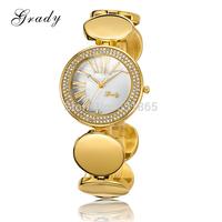 2014 grady brand lady stainless steel women dress watch 22K Gold plated women rhinestone watches