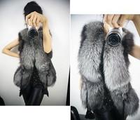 2014 Autumn and Winter warm New Silver Fox Fur Vest gilet outerwear womens fashion fur coat plus size S-3XL WT4418