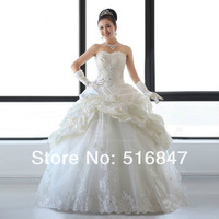 2014 New Elegant Ball Gown White/Ivory Applique Tulle/Taffeta Beaded Long Bridal Gown Wedding Dresses Custom Size Free Shipping