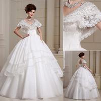 QYJY016 Lace V-Neck Ball Gown vestido de noiva com renda Crystal lace wedding dress plus size  Bride dresses for weddings 2014
