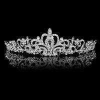 "New 2014 Brand New Wedding Party Bridal Bridesmaid Crystal Flower Rhinestone Crown Tiara 11.42"" Free Shipping"