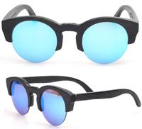 Half Rim Natural Wooden Sunglasses  CR39 lens retro new fashion Round Bamboo frame in stock (ZA42)