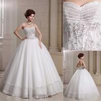 QYJY017 Sweetheart Crystal lace wedding dress plus size  Ball Gown vestido de noiva com renda Bride dresses for weddings 2014
