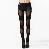 European Sexy Club Slim PU Patchwork Leggings Adventure Time Rock Fitness Base Pants Irregular Autumn Women Trousers 8817