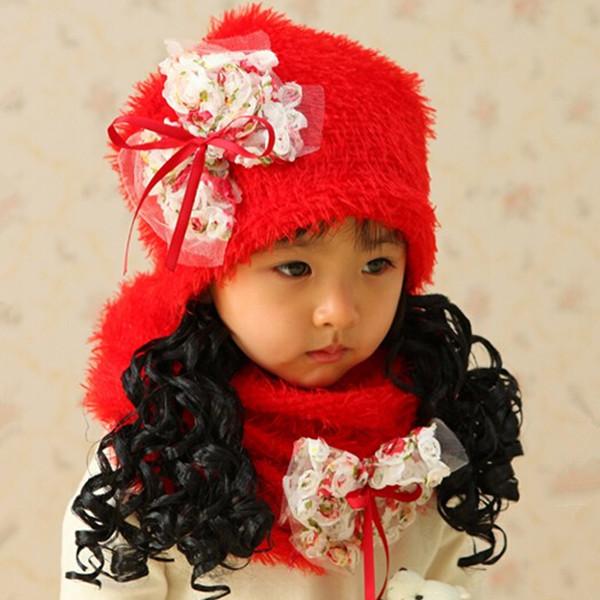 (1 Set=1 Cap+1 Scarf) 2014 New Era Autumn Winter Hats for Children Girls Photography Clothing #H41(China (Mainland))