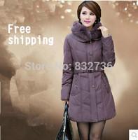 Big Size 2014  Mother Clothing Long sections Down coats Beautiful sashes  Dense Rex Rabbit Fur collars winter duck down Coat