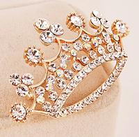 Tiara Brooch Decorative Garment Crystal Brooch Wedding Bridal Shiny Rhinestone Crown Brooch Pin