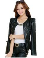 Autumn 2015 Korean Commuter Slim PU leather Plaid Slim Women's Jacket Plus Size Free Shipping M-XXXXL