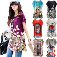 New female fashion casual summer dress big yards Ice Cotton printed short-sleeved round neck women dress