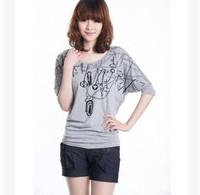 New 2014 Summer Women Cotton Batwing Sleeve  Print O-neck Short Sleeve Sweatshirt Tops girl t shirt women Free Shipping 619